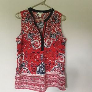 Red, white and blue sleeveless blouse